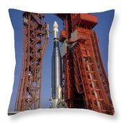View Of Launch Pad 14 During Prelaunch Throw Pillow