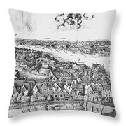 View Of London, 1647 Throw Pillow