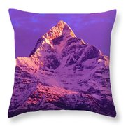 View Of Machhapuchhare At Sunrise From Throw Pillow
