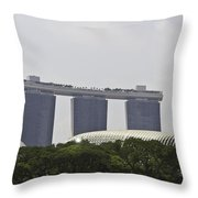 View Of Marina Bay Sands And Esplanade Building In Singapore Throw Pillow