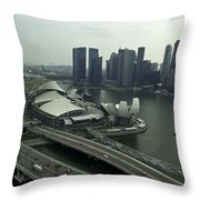 View Of Marina Bay Sands And Other Buildings From The Singapore  Throw Pillow