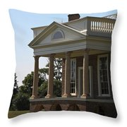 View Of South Portico At Poplar Forest Throw Pillow