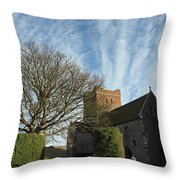 View Of St Mary Church And Clouds In Dover Castle Throw Pillow