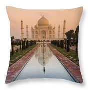 View Of Taj Mahal Reflecting In Pond Throw Pillow