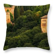 View Of The Alhambra In Spain Throw Pillow