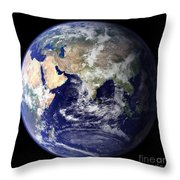 View Of The Earth From Space Showing Throw Pillow by Stocktrek Images