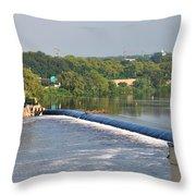 View Of The Fairmount Dam  Throw Pillow