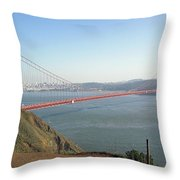 View Of The Golden Gate Bridge And San Francisco From A Distance Throw Pillow