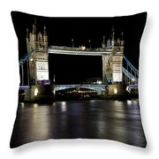 View Of The River Thames And Tower Bridge At Night Throw Pillow