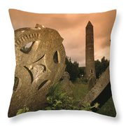 View Of The Round Tower And Gravestones Throw Pillow