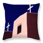 View Of The Shadowed Walls Of An Adobe Throw Pillow