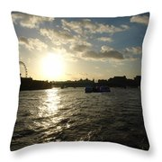 View Of The Thames At Sunset With London Eye In The Background Throw Pillow