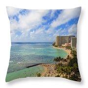View Of Waikiki And Beach Throw Pillow