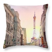 View On Eiffel Tower From Rue Saint Dominique Paris France Throw Pillow