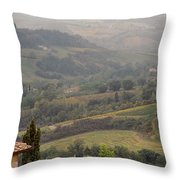 View Over The Tuscan Hills From San Gimignano Italy Throw Pillow