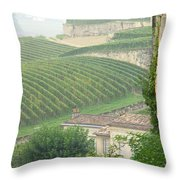 View Over The Vineyards From Saint Emilion France Throw Pillow