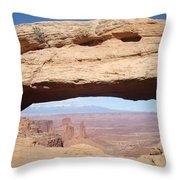 View Through Mesa Arch Throw Pillow