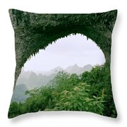 View Through Moon Hill In Guangxi In China Throw Pillow