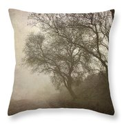 Vigilants Trees In The Misty Road Throw Pillow