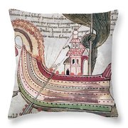 Viking Ship - 10th Century Throw Pillow