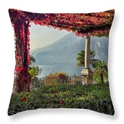 Villa Cipressi Pergola On Lake Como I Throw Pillow