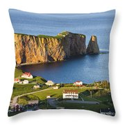 Village And Perce Rock At Sunset Throw Pillow