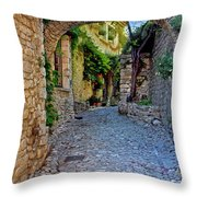 Village Lane Provence France Throw Pillow