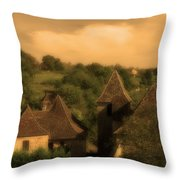 Village Of Castelnau Bretenoux In Sepia Throw Pillow