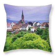 Village Of Rottelsheim, Alsace, France Throw Pillow