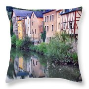 Village Reflections In Luxembourg I Throw Pillow by Greg Matchick