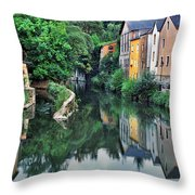 Village Reflections In Luxembourg II Throw Pillow