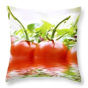 Vine Tomatoes And Salad With Water Throw Pillow
