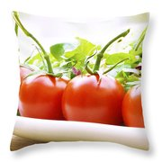 Vine Tomatoes On A Salad Plate Throw Pillow