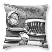 Vintage 1951 Nash Ambassador Front End 2 Bw Throw Pillow