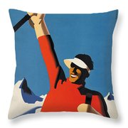 Vintage Austrian Skiing Travel Poster Throw Pillow