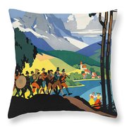 Vintage Austrian Travel Poster Throw Pillow