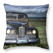 Vintage Auto On The Prairie Throw Pillow
