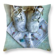 Vintage Baby Shoes And Diaper Pin On Handkercheif Throw Pillow