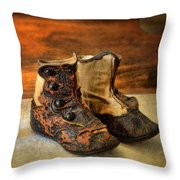 Vintage Baby Shoes Throw Pillow