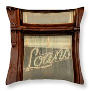 Vintage Bank Sign Throw Pillow