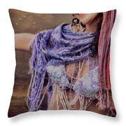 Vintage Belly Dancer Throw Pillow