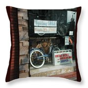 Vintage Bicycle And American Junk  Throw Pillow