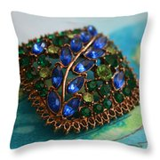 Vintage Blue And Green Rhinestone Brooch On Watercolor Throw Pillow