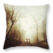 Vintage Car On Foggy Rural Road Throw Pillow by Jill Battaglia