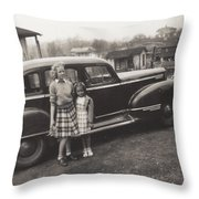 Vintage Car Woman And Girl Throw Pillow
