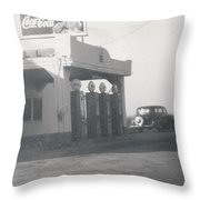 Vintage Coca Cola And Gas Throw Pillow