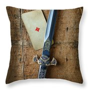 Vintage Dagger On Wood Table With Playing Card Throw Pillow