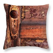 Vintage Door And Knob Throw Pillow