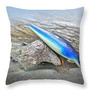 Vintage Fishing Lure - Floyd Roman Nike Blue And White Throw Pillow
