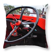Vintage Ford - Steering Wheel... Controls - Circa 1920s Throw Pillow by Kaye Menner